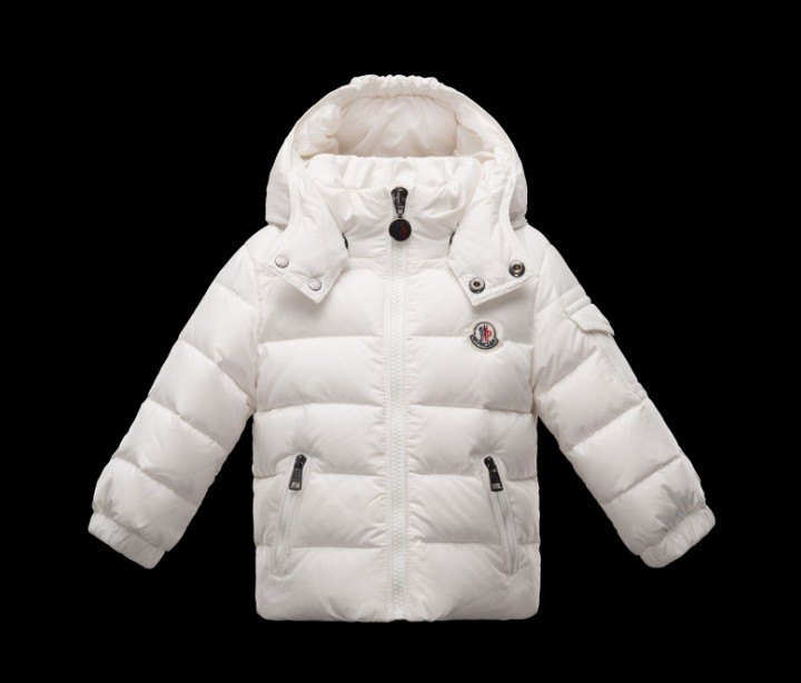 New Cheap Moncler Kids Coats White With Cap Sale NA1090