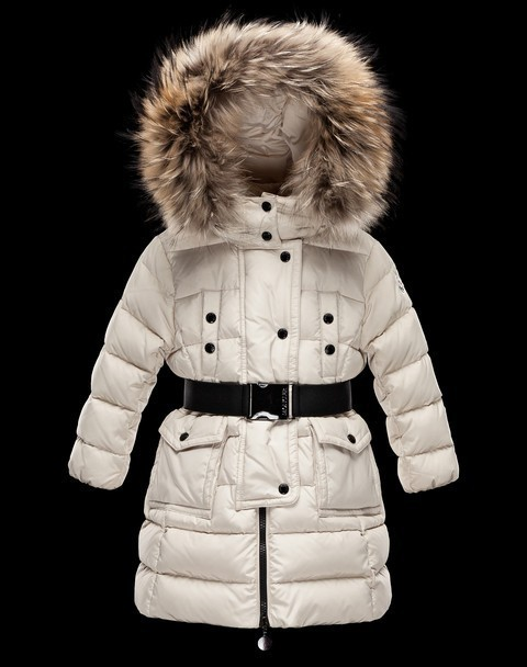 New Cheap Moncler Long Kids Coats White With Fur Cap And Belt Sale NA1082