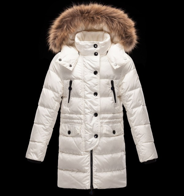 New Cheap Moncler Long Kids Coats White With Fur Cap Sale NA1087