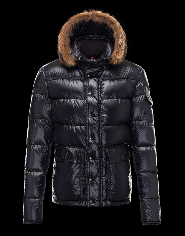 New Cheap Moncler Man Jackets Blue With Fur Cap Sale NA1013