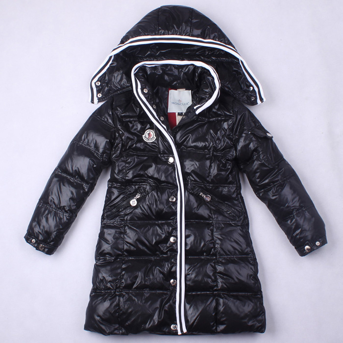 Cheap Moncler Kids Long Down Jackets Black MC1399 Sale