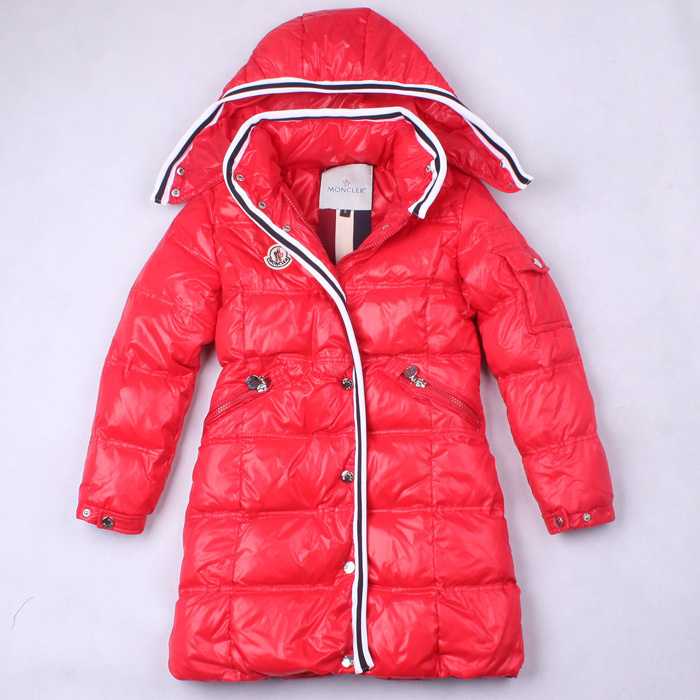 Cheap Moncler Kids Long Down Jackets Red MC1398 Sale