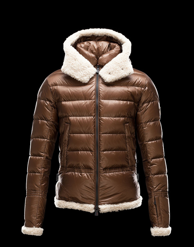 New Cheap Moncler Men Jackets Brown With Wool Fur Sale NA1002