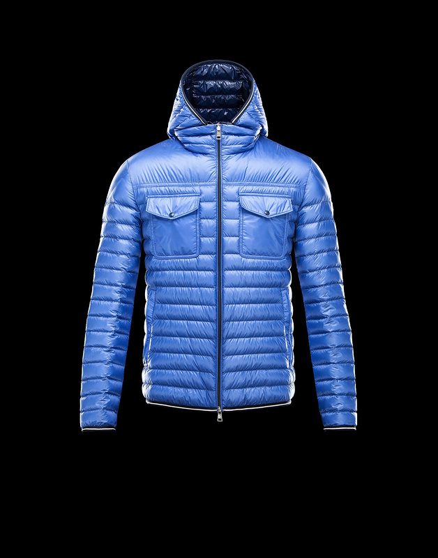 New Cheap Moncler Men Jackets Light Blue With Cap Sale NA1020