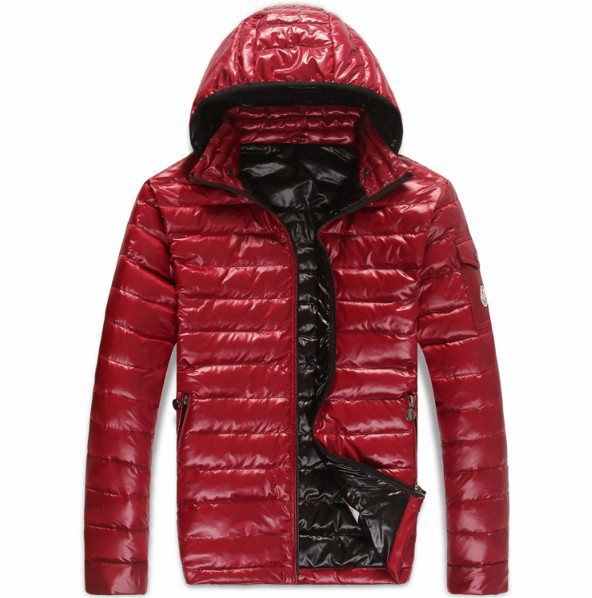 New Cheap Moncler Men Jackets Red With Cap Sale NA1007