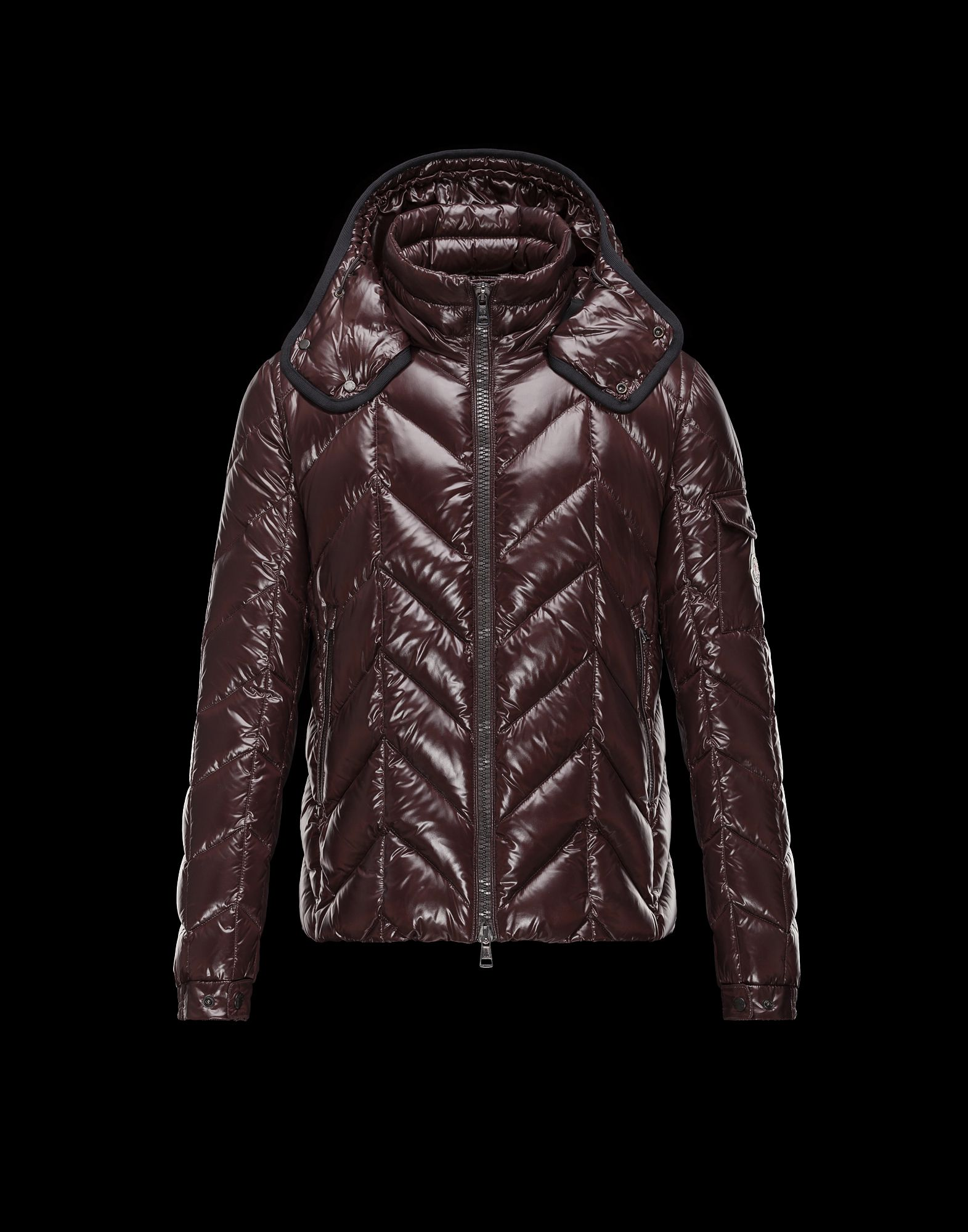Cheap Moncler BERRIAT Men Coats Dark Brown With Removable Cap Sale NA1116