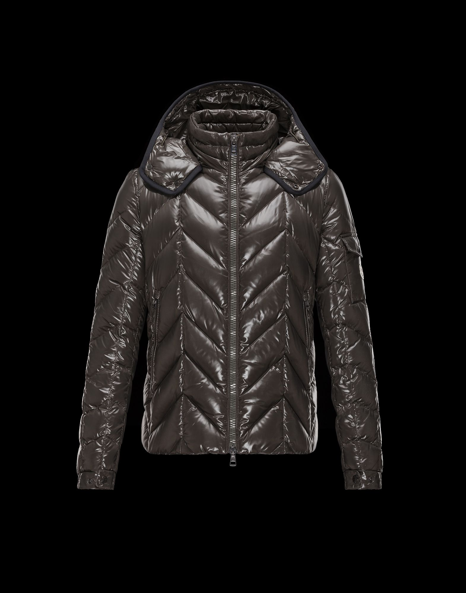 Cheap Moncler BERRIAT Men Coats Dark Grey With Removable Cap Sale NA1114