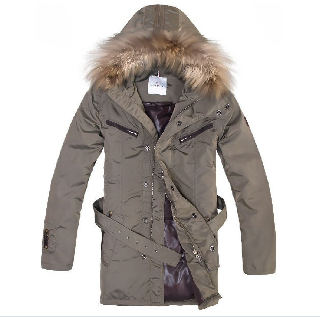 Cheap Moncler Coats Men Khaki With Fur Collar And Waistband Mid-Long Style MC1133 Sale