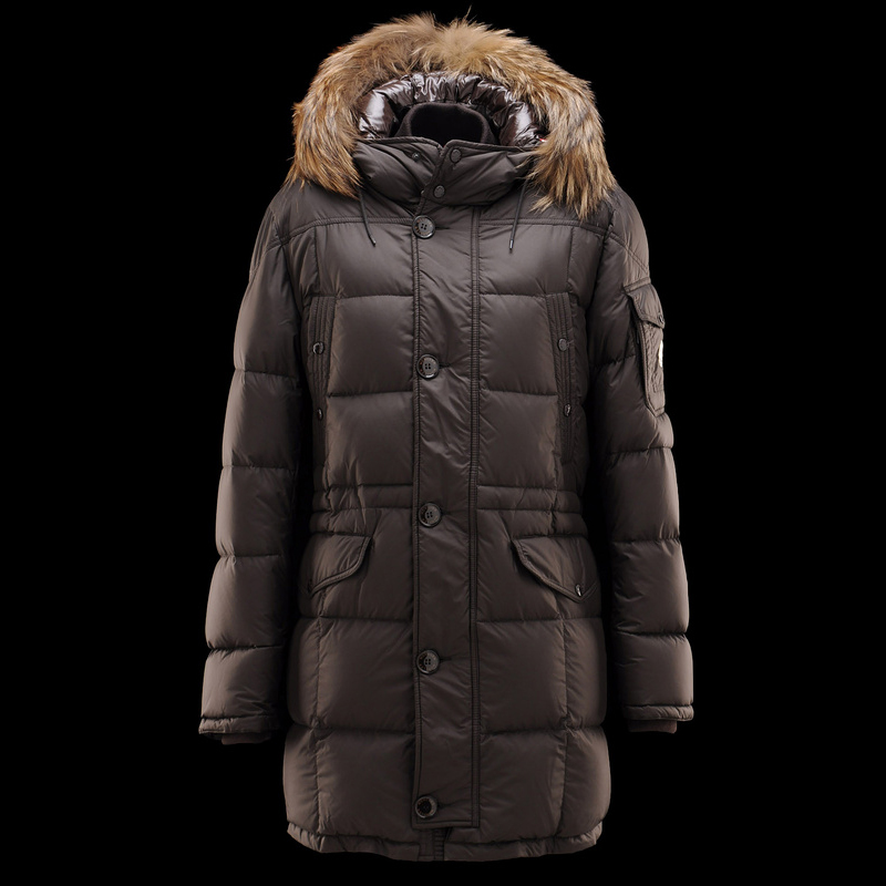 Cheap Moncler Down Coats For Men Black With Simple Mock Collar MC1308 Sale