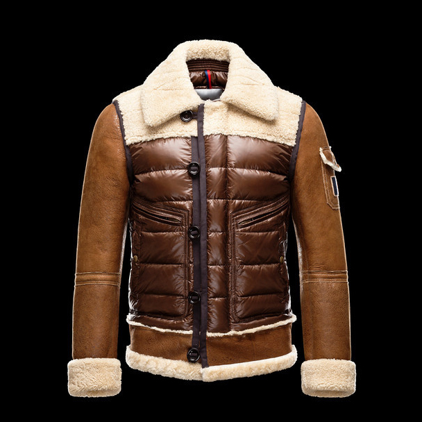 Cheap Moncler Down Jackets For Men Brown With Turndown Collar MC1309 Sale