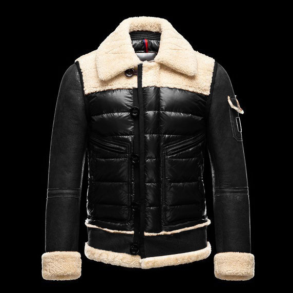 Cheap Moncler Down Jackets For Men With Turndown Collar Black MC1310 Sale