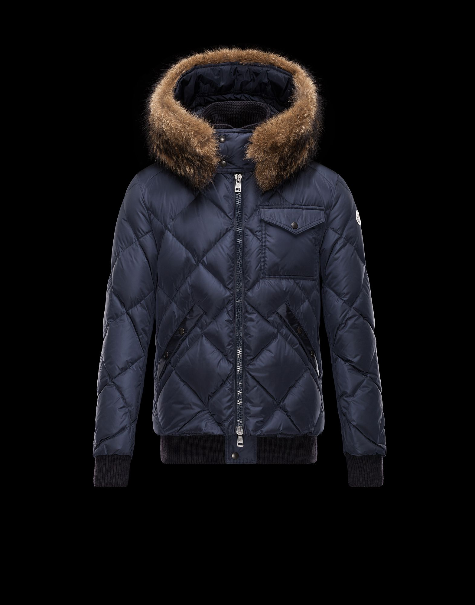 Cheap Moncler HARRISON Men Coats Dark Blue With Fur Collar Sale NA1113