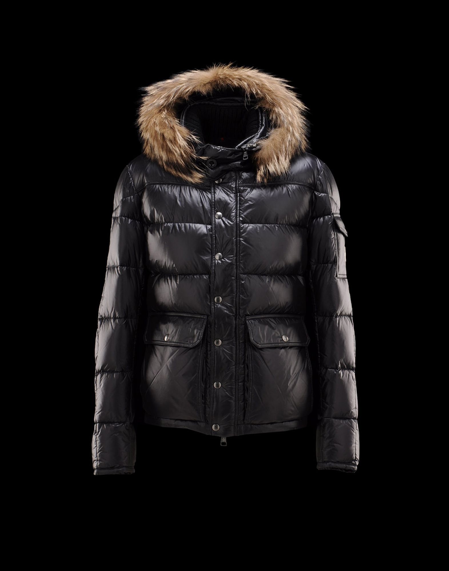 Cheap Moncler Hubert Men Coats Black With Fur Collar Removable Cap Sale NA1124