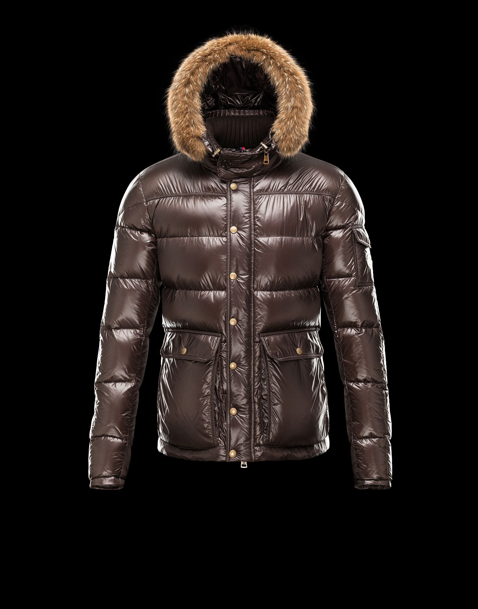 Cheap Moncler Hubert Men Coats Dark Brown With Fur Collar Removable Cap Sale NA1123