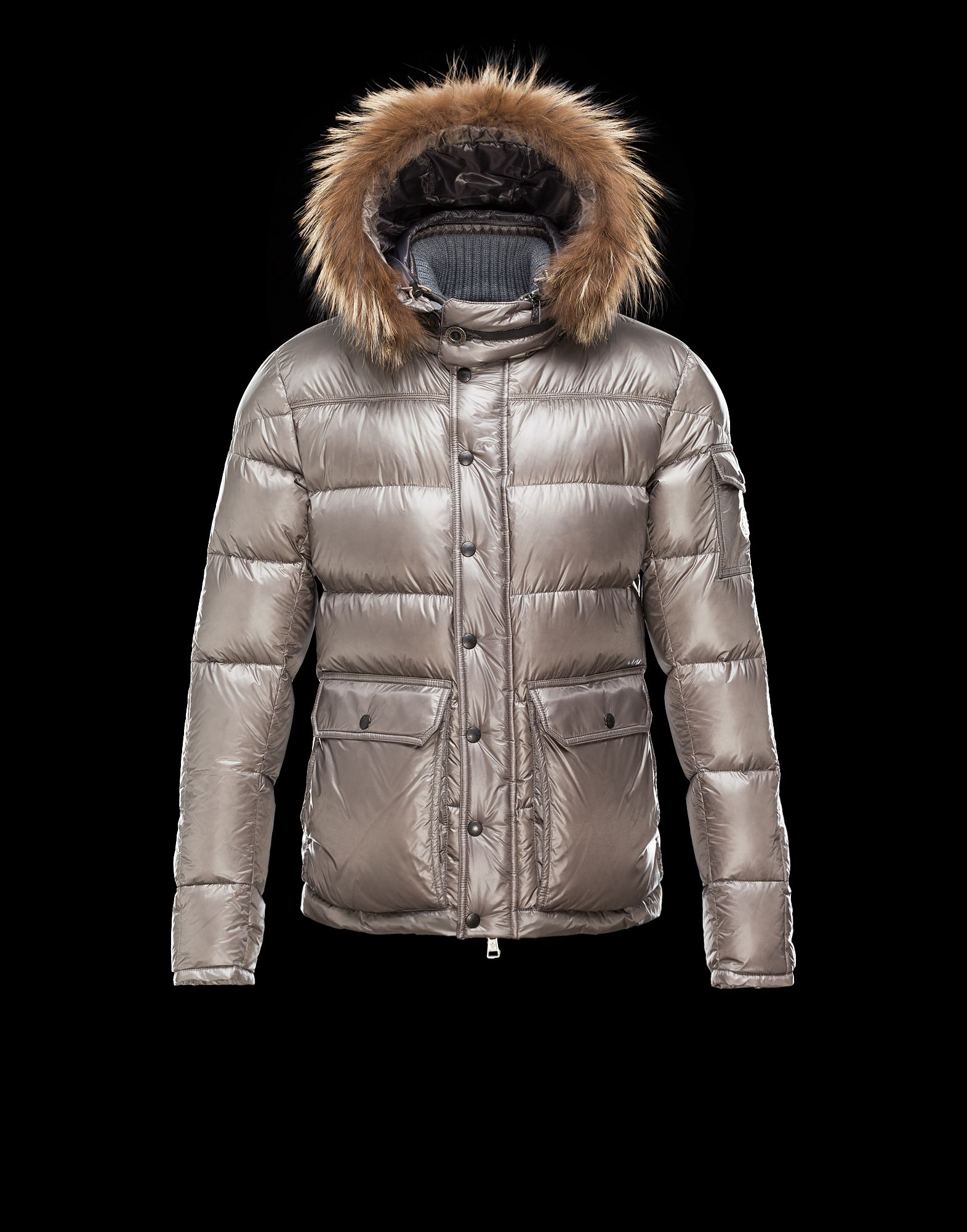 Cheap Moncler Hubert Men Coats Grey With Fur Collar Removable Cap Sale NA1122