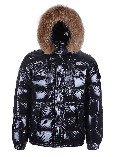 Cheap Moncler Jackets For Men Black With Fur Cap MC1220 Sale