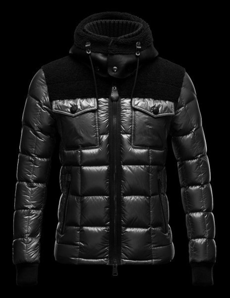 Cheap Moncler Jackets For Men Black With Mock Collar MC1096 Sale