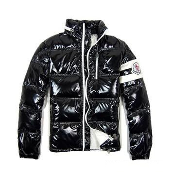 Cheap Moncler Jackets For Men Black With Mock Collar MC1105 Sale