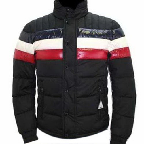 Cheap Moncler Jackets For Men Black With Mock Collar MC1107 Sale