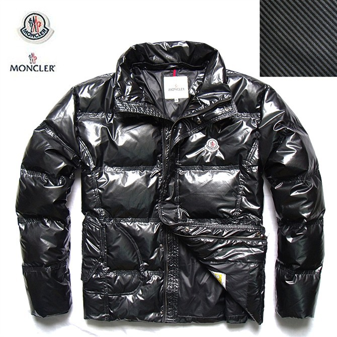 Cheap Moncler Jackets For Men Black With Mock Collar Zipper MC1015 Sale