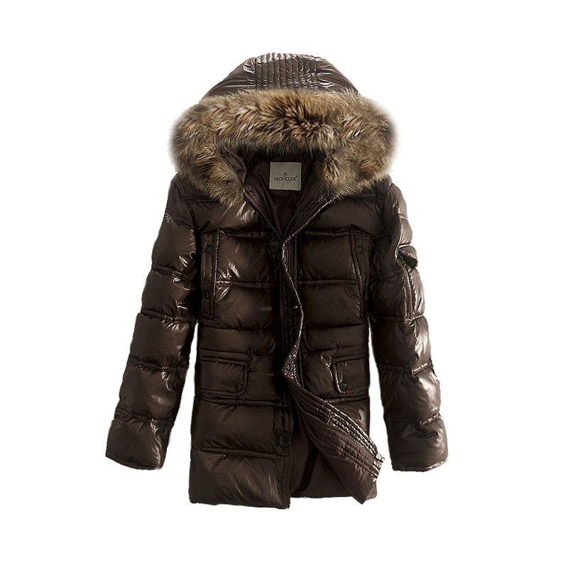 Cheap Moncler Jackets For Men Brown Mid-Long Warm Style MC1131 Sale