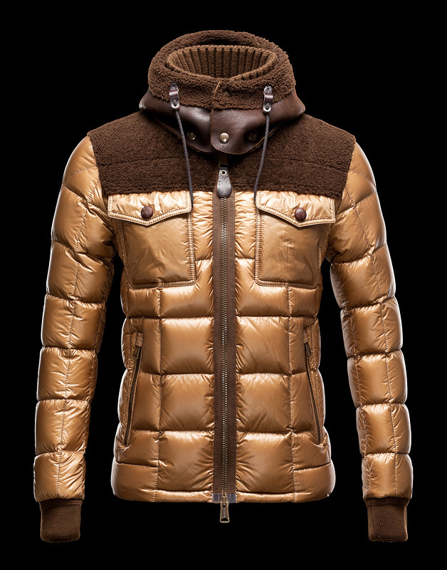 Cheap Moncler Jackets For Men Brown With High Collar MC1126 Sale