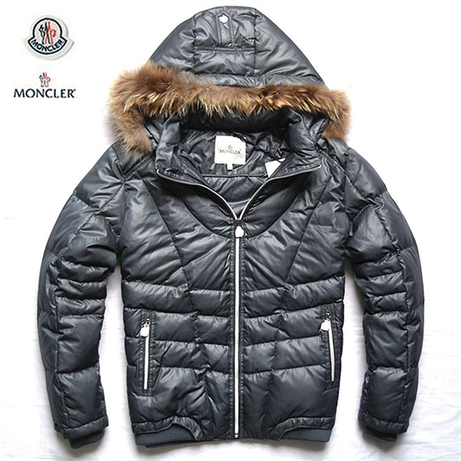 Cheap Moncler Jackets For Men Silver With Fur Collar MC1006 Sale