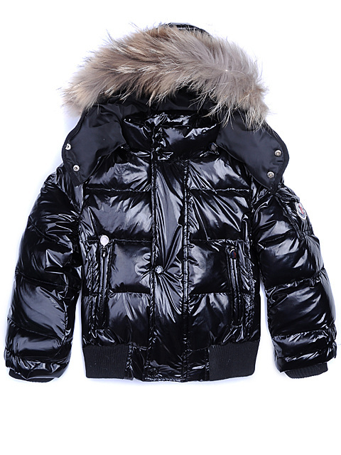 Cheap Moncler Kids Jackets Black With Fur Cap MC1275 Sale