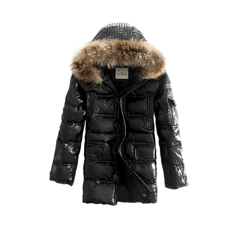 Cheap Moncler Long Jackets For Men Black With Fur Cap MC1104 Sale