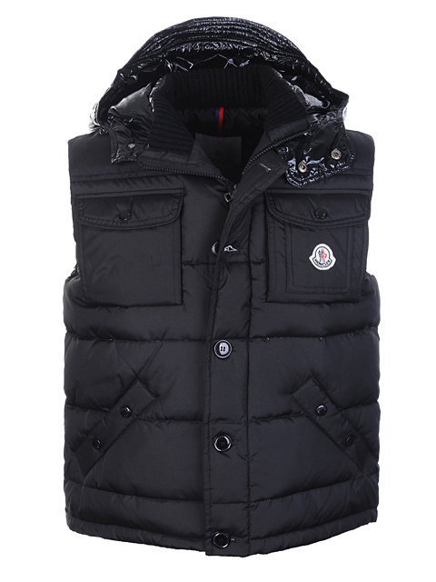 Cheap Moncler Men Down Vest Black MC1442 Sale
