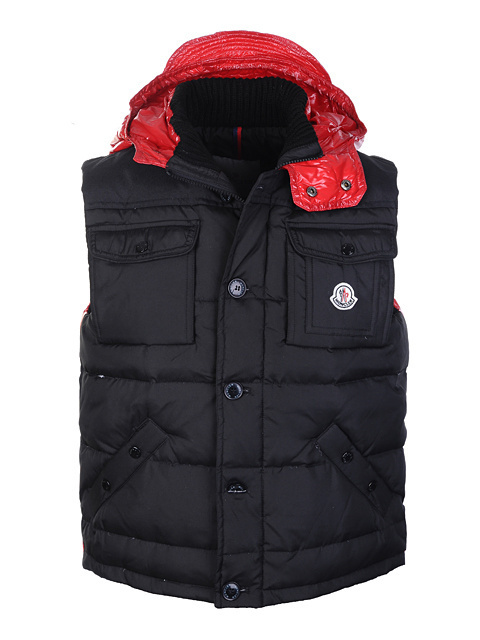 Cheap Moncler Men Down Vest Black Red MC1441 Sale