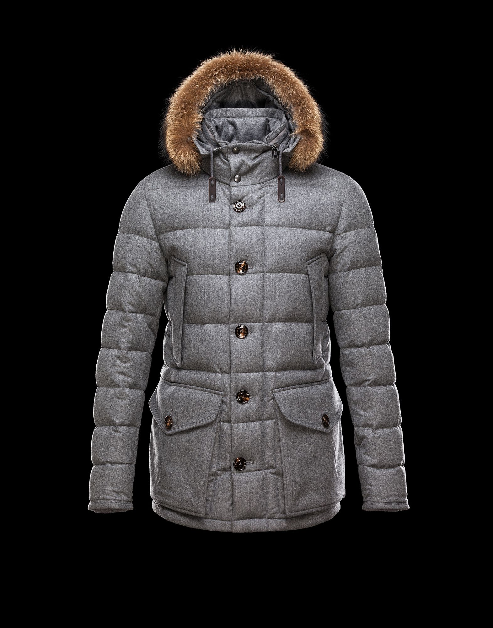 Cheap Moncler RETHEL Men Coats Grey With Fur Collar Removable Cap Sale NA1126