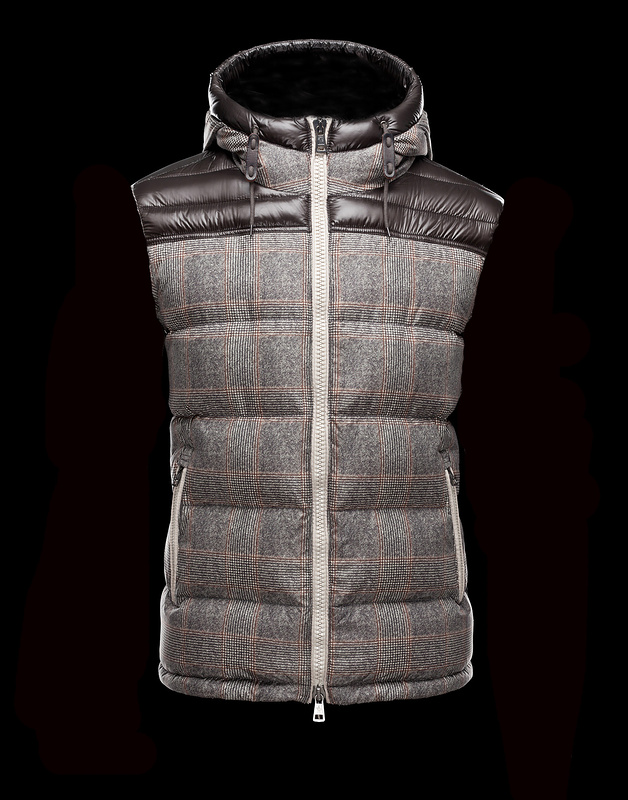 Cheap Moncler Vest Men Brown_Grey MC1040 Sale
