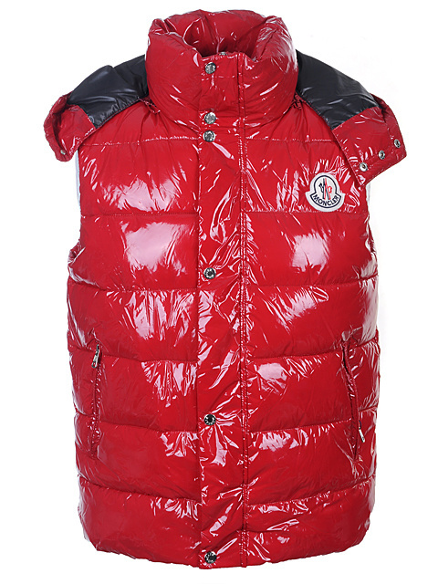 Cheap Moncler Vest Men Red With High Collar MC1232 Sale