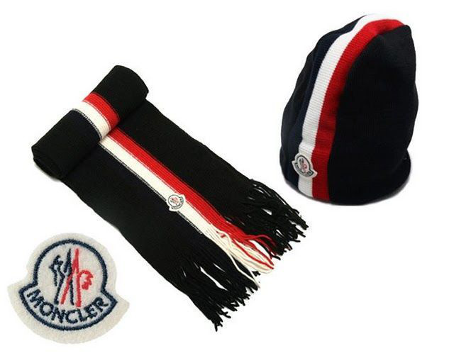 Cheap Moncler Wool Black Warm Hat And Scarf MC1300 Sale