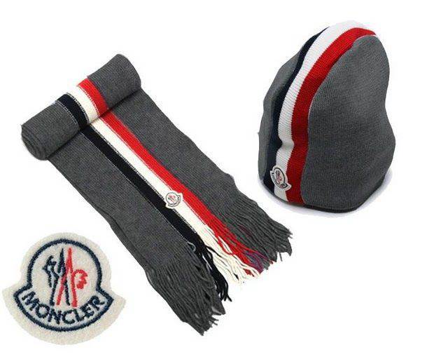Cheap Moncler Wool Grey Warm Hat And Scarf MC1301 Sale