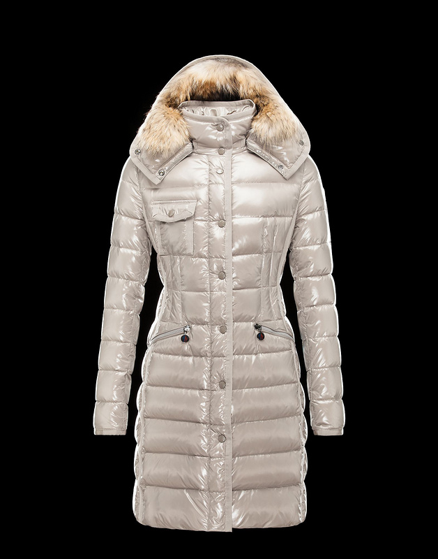 New Cheap Moncler Long Women Coats Ivory White With Fur Cap Sale NA1048