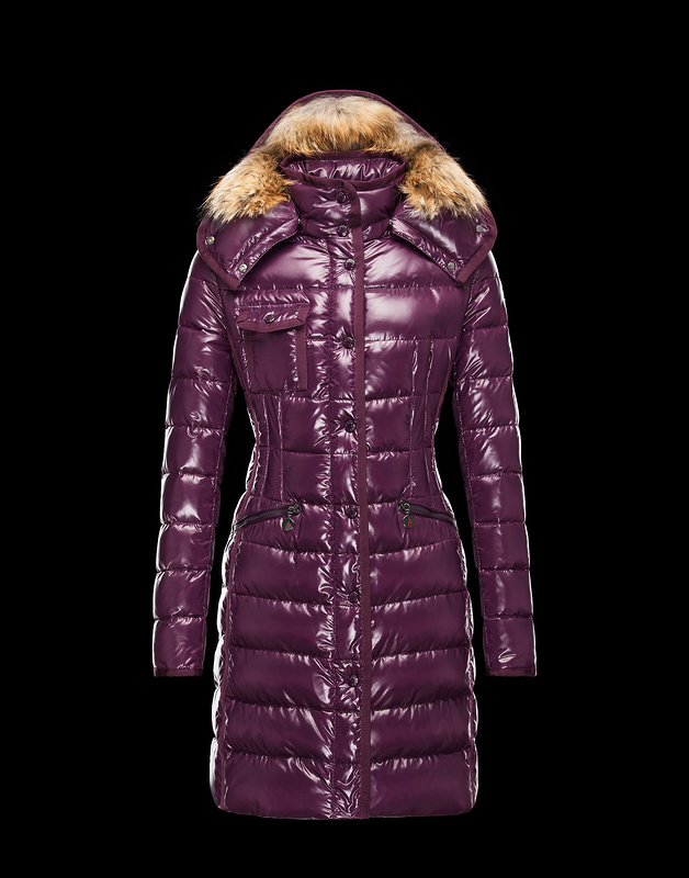 New Cheap Moncler Long Women Coats Purple With Fur Cap Sale NA1049