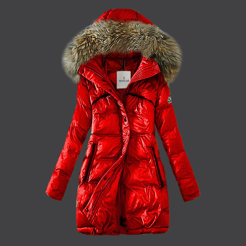New Cheap Moncler Long Women Coats Red With Fur Cap Sale NA1047