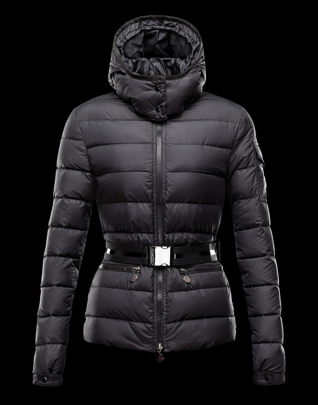 New Cheap Moncler Women Coats Black With Belt Sale NA1052