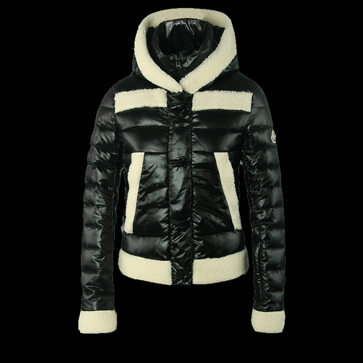 New Cheap Moncler Women Coats Black With Cap Sale NA1042
