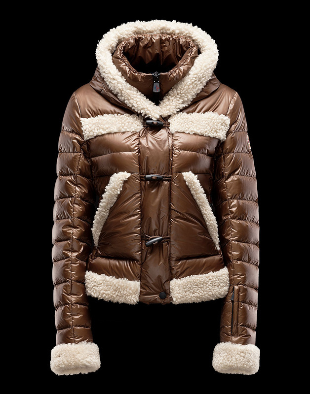 New Cheap Moncler Women Coats Brown With Cap Sale NA1040