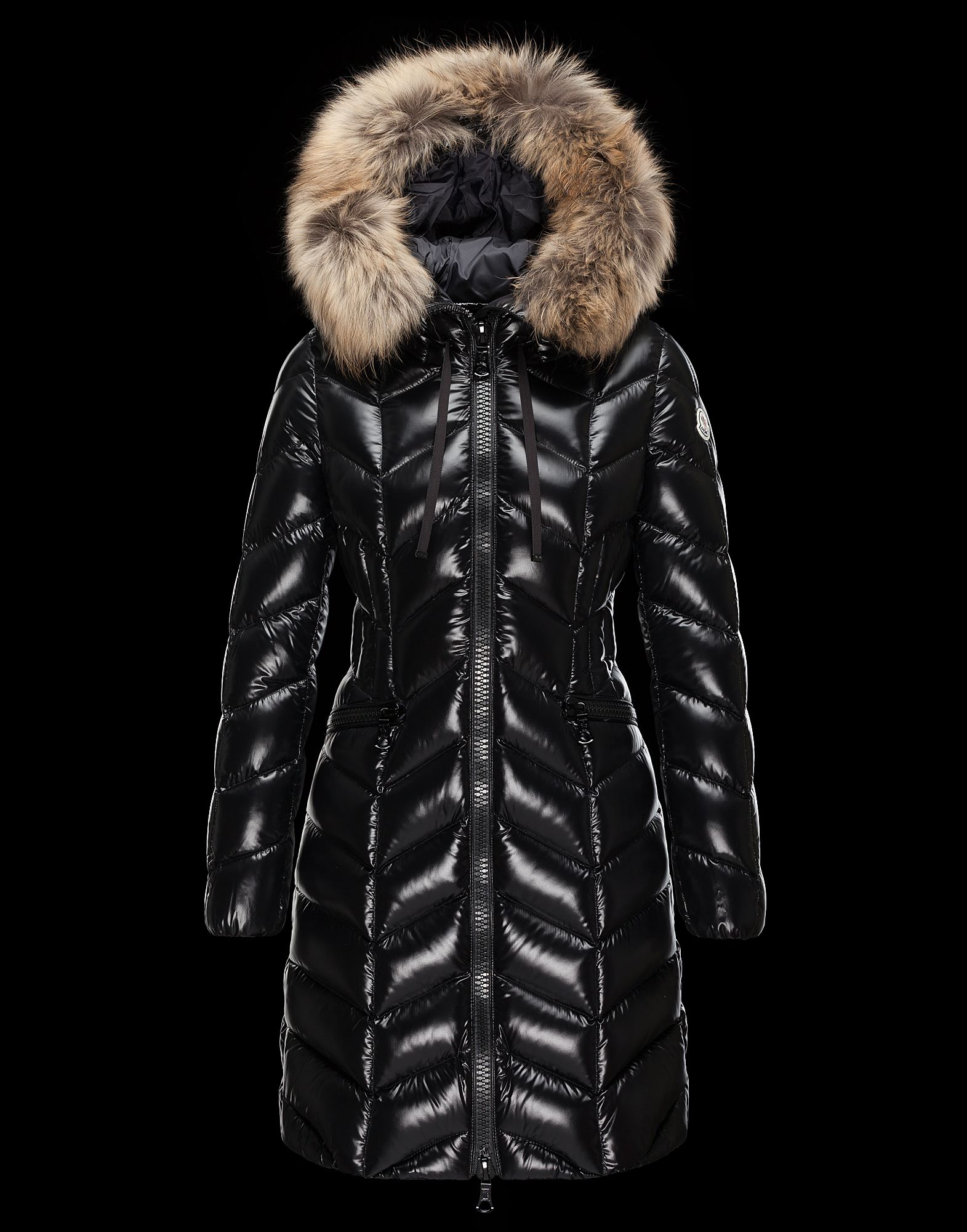 Cheap Moncler BELLOY Women Coats Long Black With Fur Collar Sale NA1109