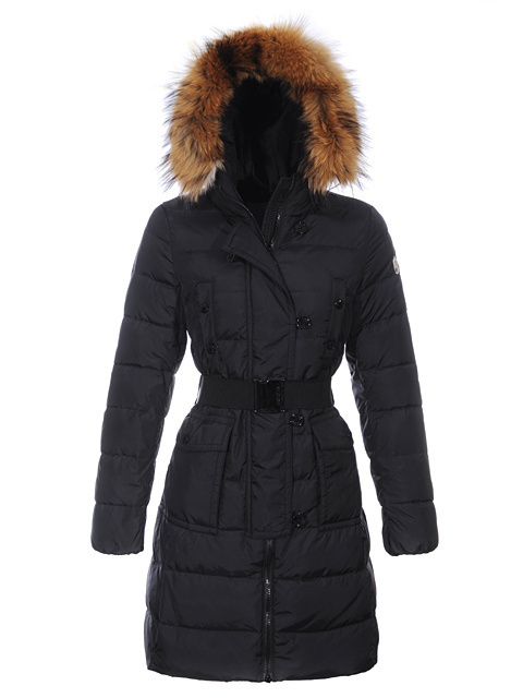 Cheap Moncler Coats For Women Black Long Style With Fur Cap And Waistband MC1063 Sale