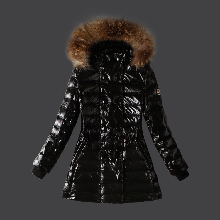 Cheap Moncler Coats For Women Black With Fur Cap MC1338 Sale