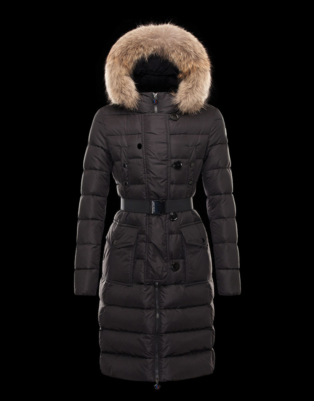 Cheap Moncler Coats For Women Brown With Fur Cap And Waistband Style MC1065 Sale
