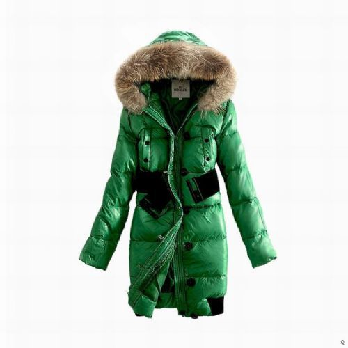 Cheap Moncler Coats For Women Green With Fur Cap And Waistband Long Style MC1074 Sale