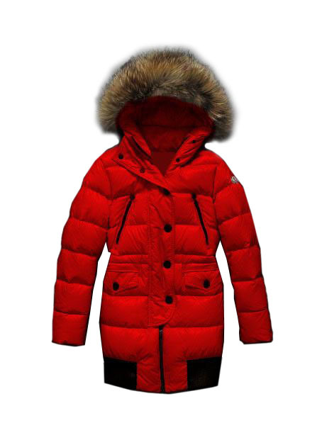 Cheap Moncler Coats For Women Red With Fur Long Style MC1070 Sale