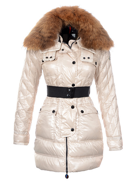Cheap Moncler Coats For Women White With Fur Collar And Waistband MC1221 Sale