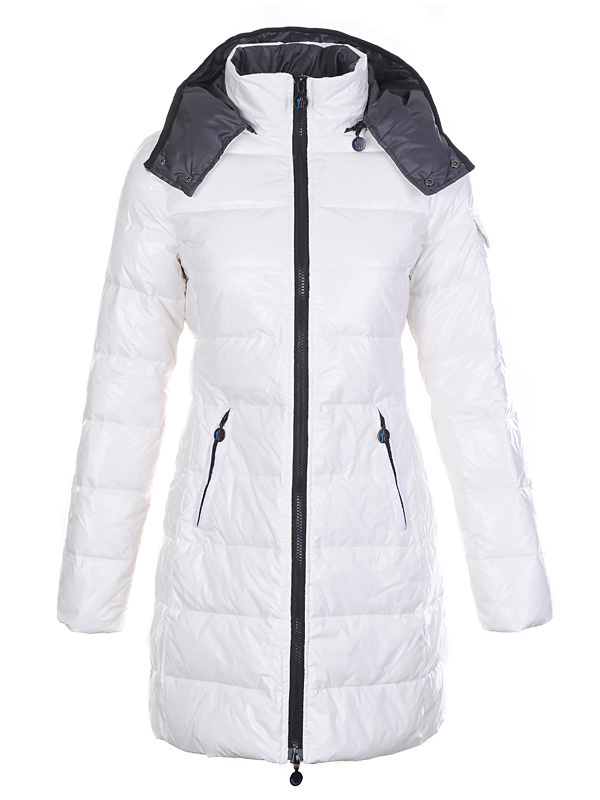 Cheap Moncler Coats For Women White With Mock Collar Long Style MC1077 Sale